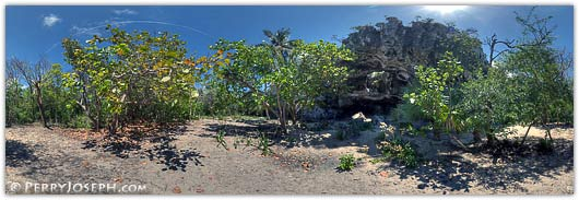 Preachers Cave Eleuthera - cave entrance panoramic photograph