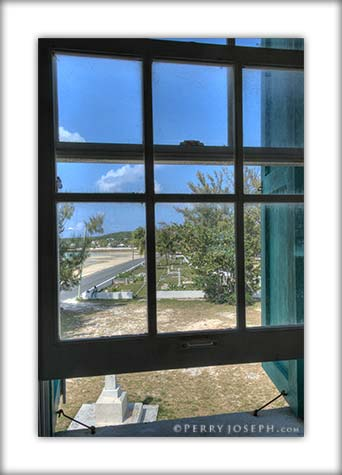 Photo of Haynes Library window view of Governor's Harbour
